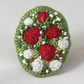 Red and White Roses Felted and Embroidered Brooch