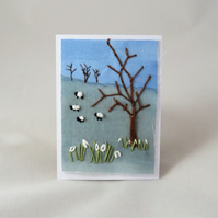 ACEO Landscape Snowdrops and sheep
