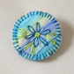 Simple Flower Badge Style brooch hand stitched on hand painted background