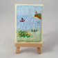 ACEO Summer Seaside Scene embroidered and painted