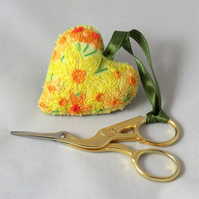 Daffodils embroidered and painted Scissor Keeper