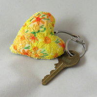 Daffodils Keyring Embroidered and painted