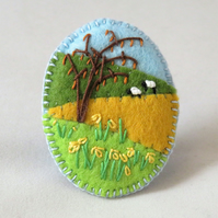Daffodils and Sheep - Embroidered Felt brooch