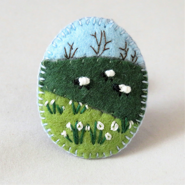 Snowdrops and sheep - Embroidered felt brooch