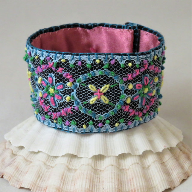 Embroidered Lace Cuff - pink and blue
