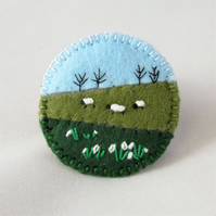 Sheep and Snowdrops - Embroidered round felt brooch