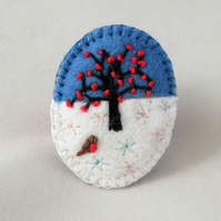 Winter Tree and Robin - Embroidered oval felt brooch