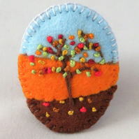 Autumn Tree - Embroidered oval felt brooch