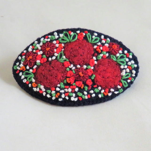 Embroidered Roses Hair Clip or Barrette