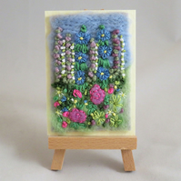 ACEO Summer Garden - Pink and Blue