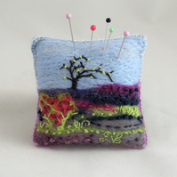 Moorland Pincushion Embroidered and Felted