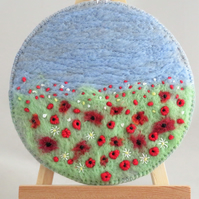 Embroidered Poppies Plaque