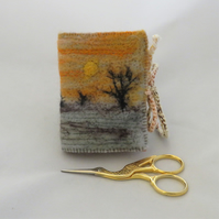 Needle Book Winter Sunset - Embroidered and felted