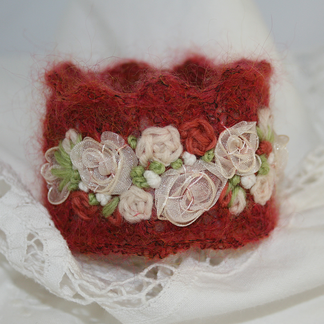 Embroidered and Knitted Cuff - Ivory Roses on russet mohair lace
