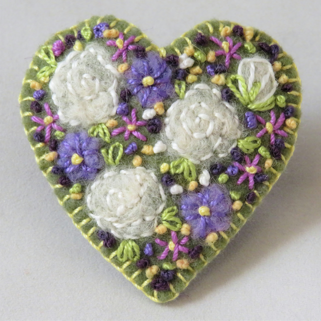 Brooch Roses and lilac dahlias felted and embroidered on felt heart