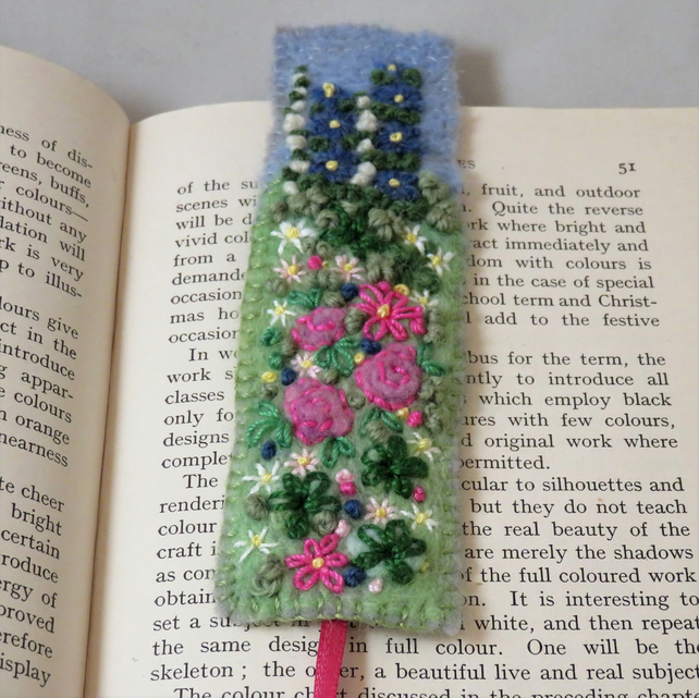 Bookmark - pink rose garden embroidered and felted