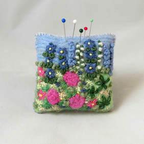 Rose Garden Pincushion - felted and embroidered