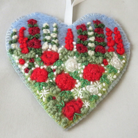 Red Rose Hanging Heart Decoration