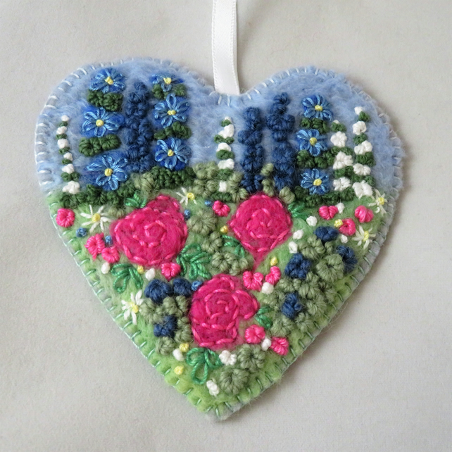 Pink Rose Hanging Heart Decoration