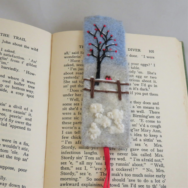 Two Robins in the Snow - Felted and embroidered bookmark