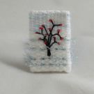 Embroidered Brooch - Woven frost with tree