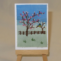 ACEO Two Tiny Blue Tits Amidst the Blossom