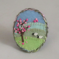 Brooch - Blossom and Two Sheep, appliqued and embroidered