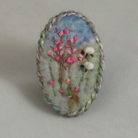 Cherry Blossom and Sheep - Embroidered and felted spring brooch
