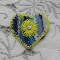 Brooch - Yellow Flower on Blue Felted Heart