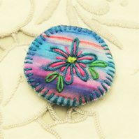 Brooch - Blue flower on hand painted stripes