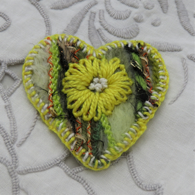 Brooch - Yellow Flower on Green Felted Heart
