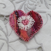 Brooch - White Flower on Pink Felted Heart