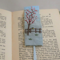 Blossom and two tiny blue tits bookmark - painted and stitched