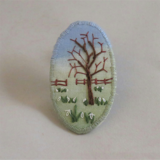 Snowdrops Brooch - embroidered and painted