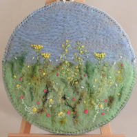 Buttercup Meadow Felted and Embroidered Plaque