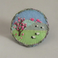 Brooch - Blossom and Sheep, appliqued and embroidered