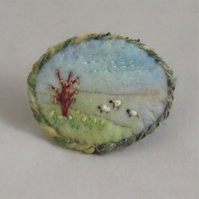 Daffodils and Sheep - Embroidered and felted spring brooch