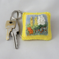 Garden Keyring Embroidered and Felted