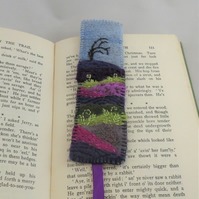 Bookmark - moorland embroidered and felted