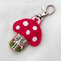 Fairy toadstool bag charm - hand sewn gifts