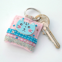 Kawaii kitty keyring - hand sewn gifts - cat
