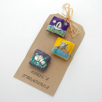 3 mini brooches - seaside brooches - holiday jewellery