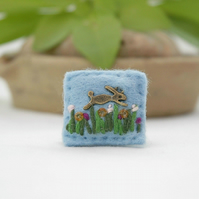 Miniature hare brooch - rabbit brooch - gift ideas