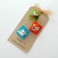 mini brooches - summer theme - felt jewellery