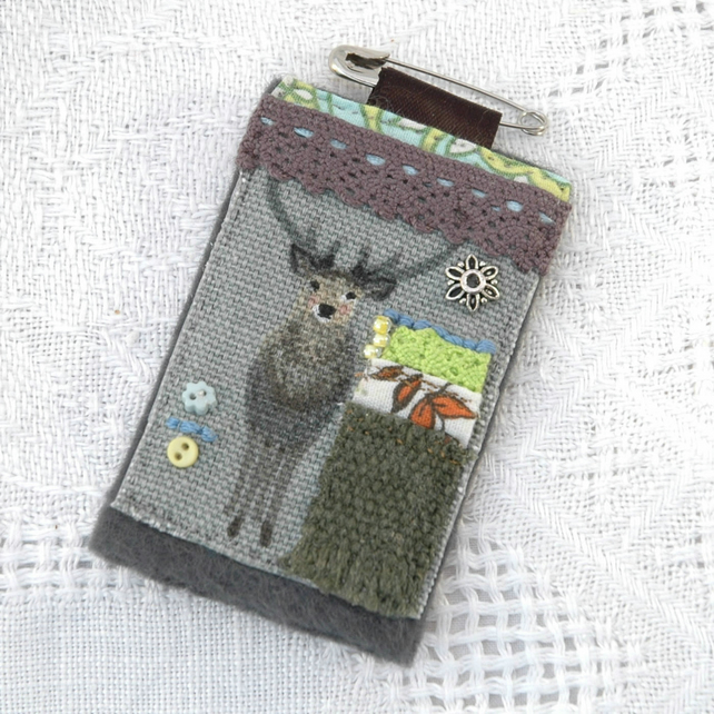 Stag textile brooch pin - country lover gift - stag gifts