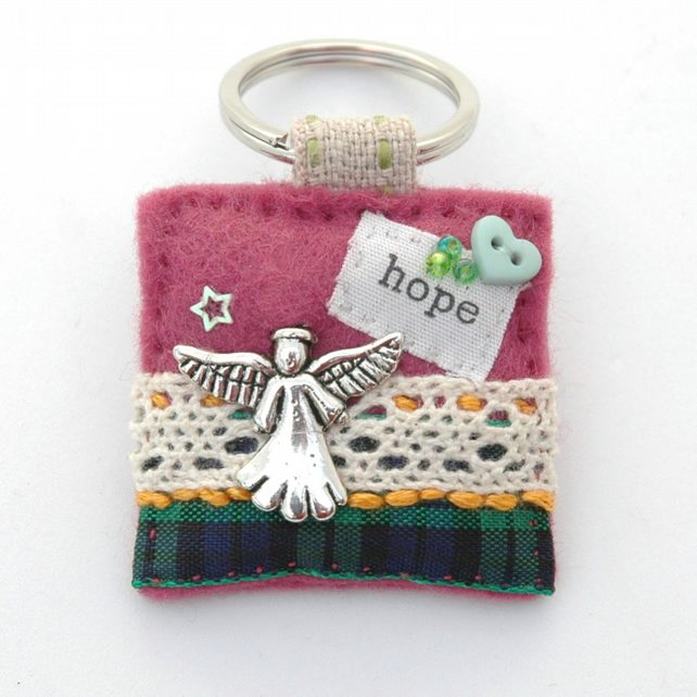 keyring - angel keyring - religious gift - guardian angel
