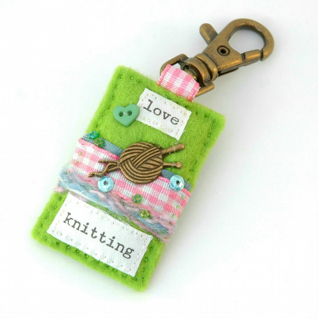 knitting bag charm - gifts for knitters