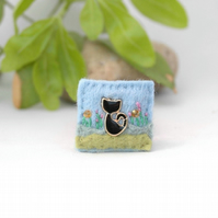black cat brooch - good luck gift jewellery