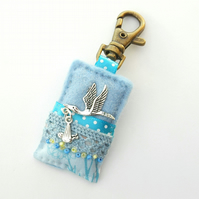 blue nappy bag charm - new baby gift - doula gift