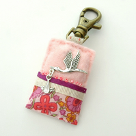 new baby gift - pink nappy bag charm - stork and baby